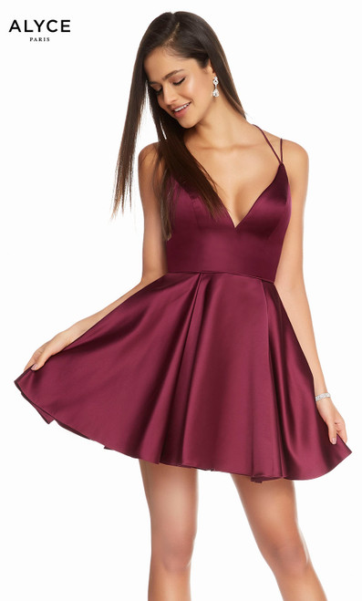 Alyce 3876 short fit and flare luxe silk satin dress with a v-neck and pockets