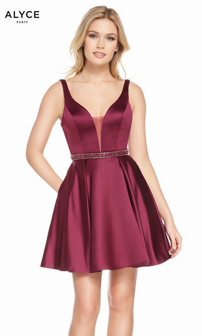 Alyce 3877 short fit and flare luxe silk satin dress with a plunging neckline, beaded waist and pockets