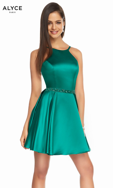 Alyce 3878 short fit and flare luxe silk satin dress with a high neckline, beaded waist and pockets