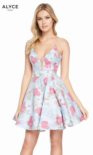 Alyce 3904 short fit and flare jacquard dress with a plunging neckline and pockets