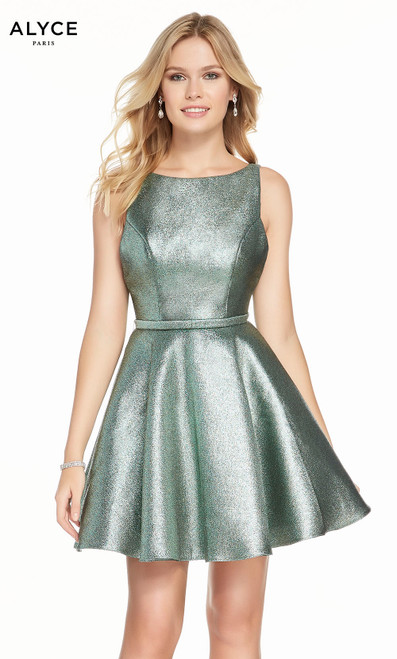 Alyce 3917 short fit and flare sparkly fabric dress, with a bateau neckline, bow and pockets