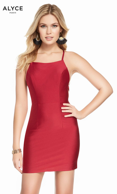 Alyce 4087 short straight power jersey dress with a square neckline