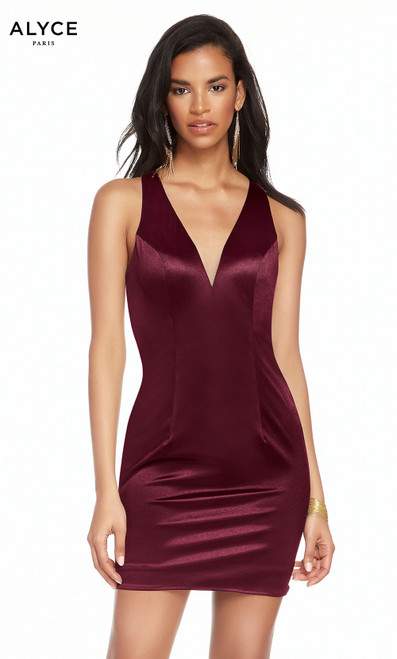 Alyce 4097 short tango jersey dress with a plunging neckline and slit