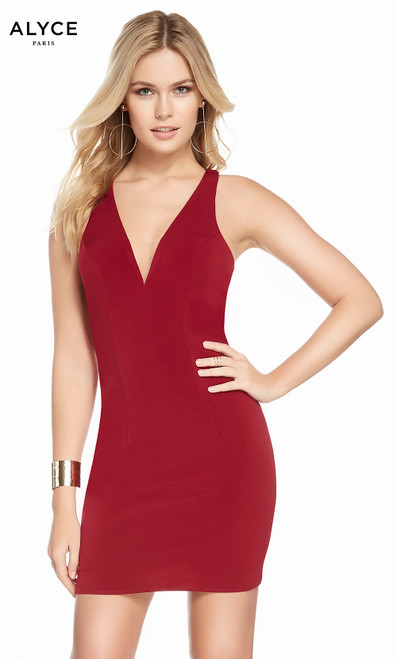 Alyce 4098 short jersey dress with a v-neckline