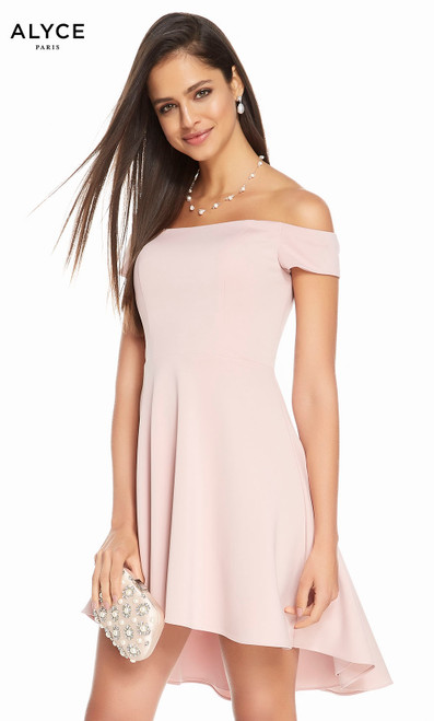 Alyce 4102 short high-low luxe jersey dress, off the shoulders with pockets
