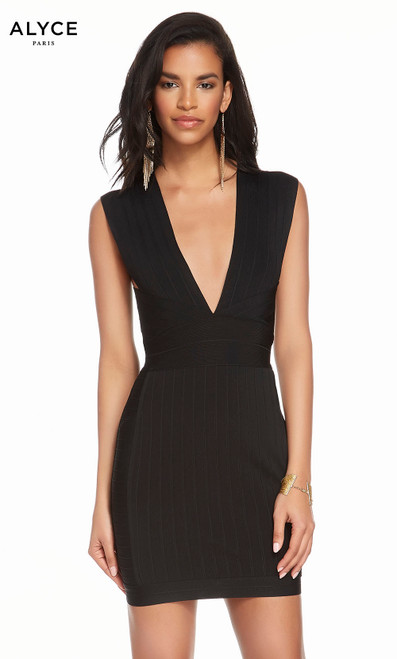 Alyce 4108 short bandage jersey dress with a plunging neckline