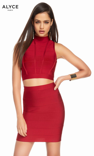 Alyce 4111 short bandage jersey dress with a high neckline