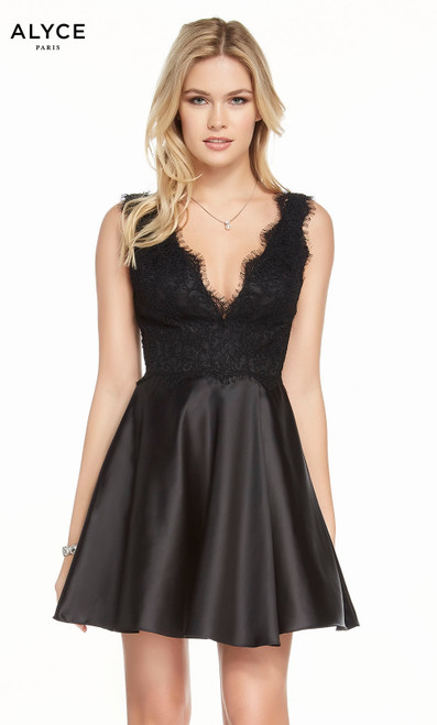 Alyce 4126 short fit and flare lace-satin dress with a v-neckline, laced bodice and pockets