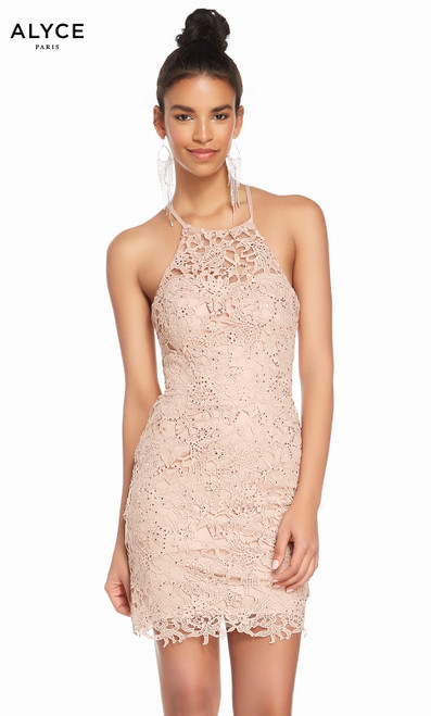 Alyce 4140 short laced dress, halter neckline and laced bodice