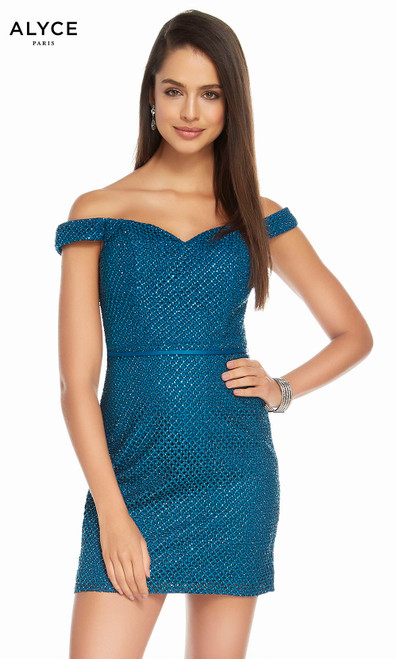 Alyce 4144 short diamond laced dress, off the shoulder with a laced bodice