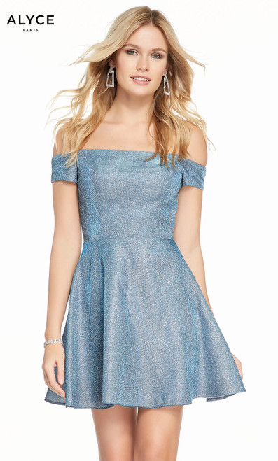 Alyce 4185 short fit and flare cracked ice taffeta dress, off the shoulder neckline with pockets