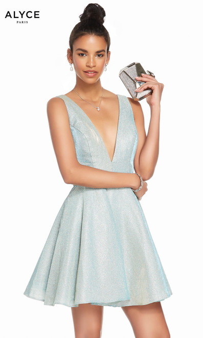 Alyce 4186 short fit and flare cracked ice taffeta dress with a plunging neckline and pockets