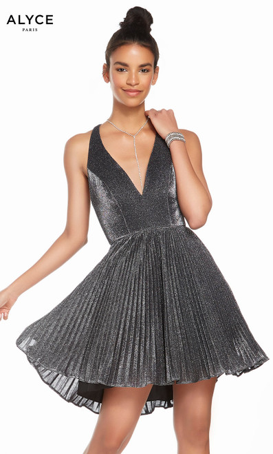Alyce 4191 short fit and flare pleated sparkle jersey dress with a v-neckline and pleated skirt