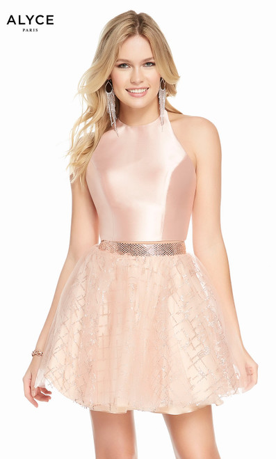 Alyce 4194 short fit and flare mikado-cracked ice tulle dress with a halter neckline