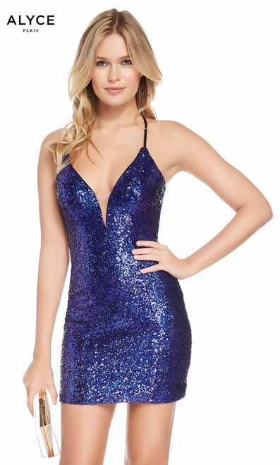 Alyce 4200 short sequin dress with a plunging neckline