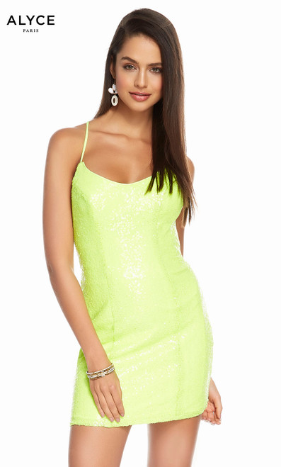 Alyce 4202 short sequin dress with a scooped neck