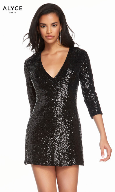 Alyce 4210 short sequin dress with a v-neckline and sleeves