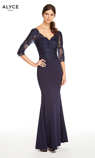 Alyce 27333 long mermaid heavy jersey dress with a v-neckline, beaded bodice and sleeves