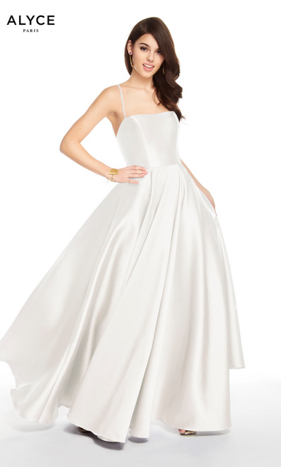 Alyce 60592 long fit and flare mikado dress with a squared neckline and pockets