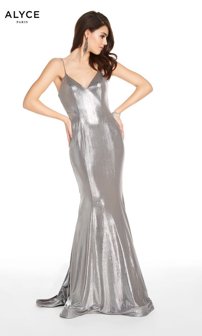 Alyce 60585 long mermaid metallic jersey dress with a v-neckline and train