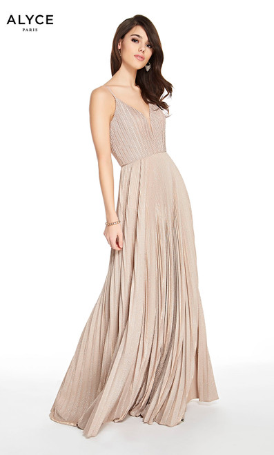Alyce 60588 long fit and flare pleated glitter jersey dress with a plunging neckline