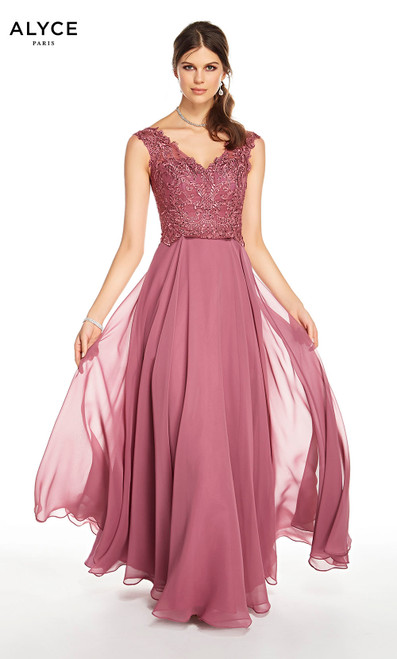 Alyce 27324 long chiffon dress, medium fullness with a v-neckline and laced bodice