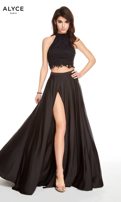 Alyce 60601 long satin dress, medium fullness with a high neckline, laced bodice and slit