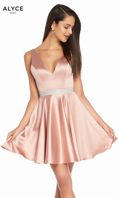 Alyce 1466 short fit and flare luminous satin dress with a v neck, jeweled waistline and pockets