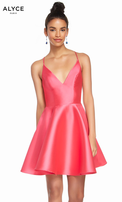 Alyce 1454 short fit and flare mikado dress with a v-neckline and pockets
