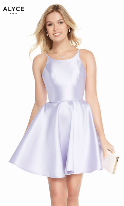 Alyce 1456 short fit and flare mikado dress with a high neck and pockets