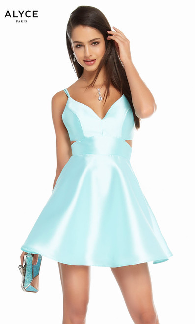 Alyce 3879 short fit and flare mikado dress with a v-neckline and pockets