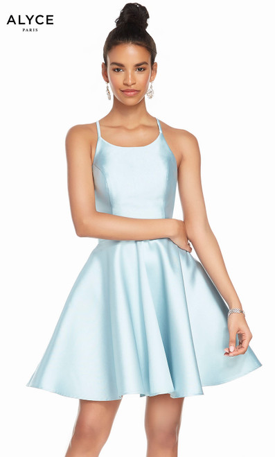 Alyce 3880 short fit and flare mikado dress with a high neck and pockets