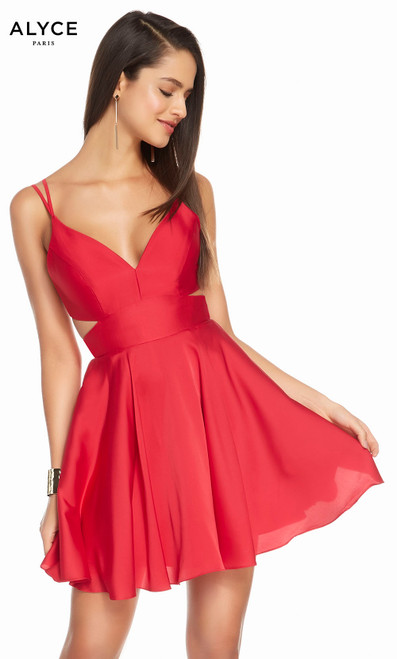 Alyce 4117 short fit and flare satin chiffon dress with a v-neckline, side , cutouts and pockets