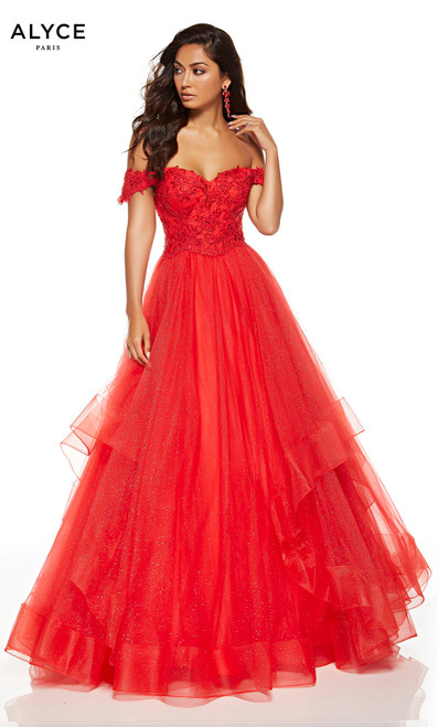 Red off the shoulder ball gown