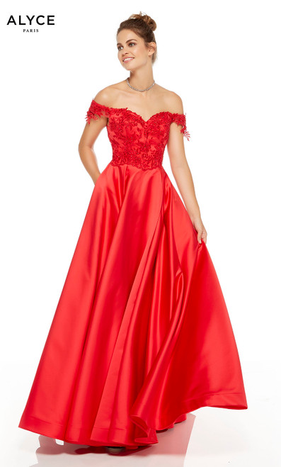 Red off the shoulder prom dress with pockets