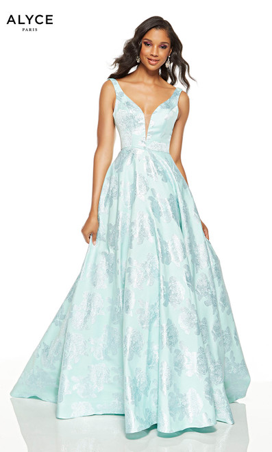 Sea Glass prom dress with a plunging neckline