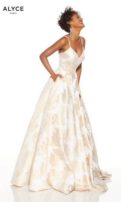 Gold-Ivory V-neck formal gown with pockets