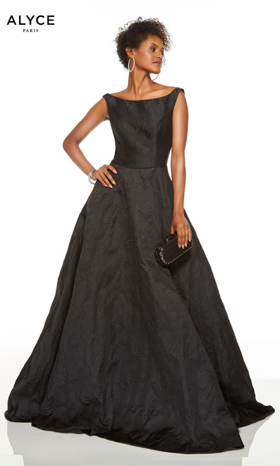 Black formal gown with a bateau neckline