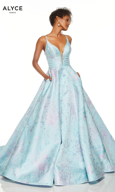 Aqua ball gown with pockets and a plunging neckline