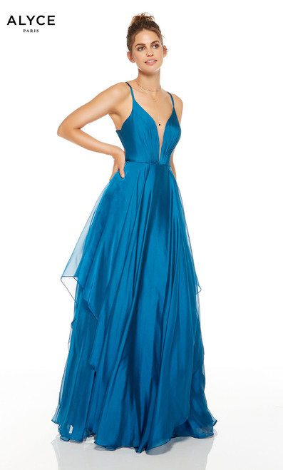 Deep Water (Blue) flowy prom dress with a plunging neckline