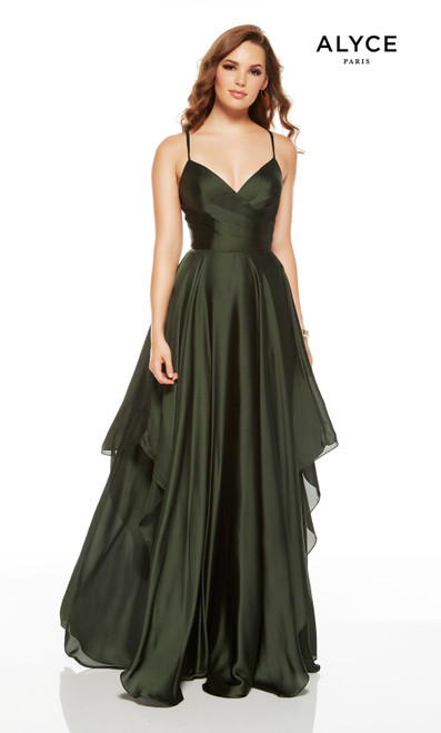 Forest Green flowy wedding guest dress with a V-neckline