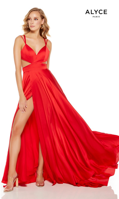 Lipstick Red flowy gown with an enclosed back
