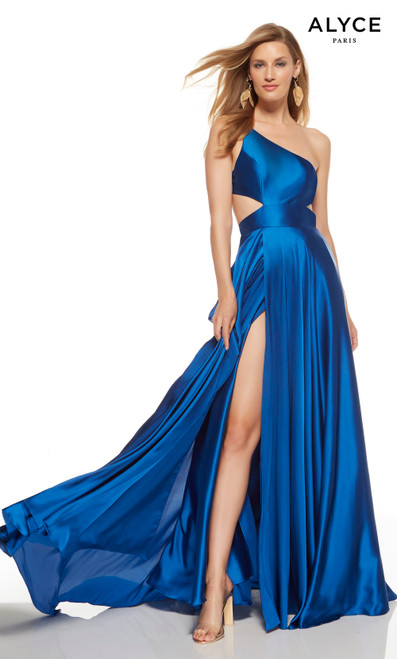 Sapphire Blue one shoulder prom dress with side cutouts and a slit