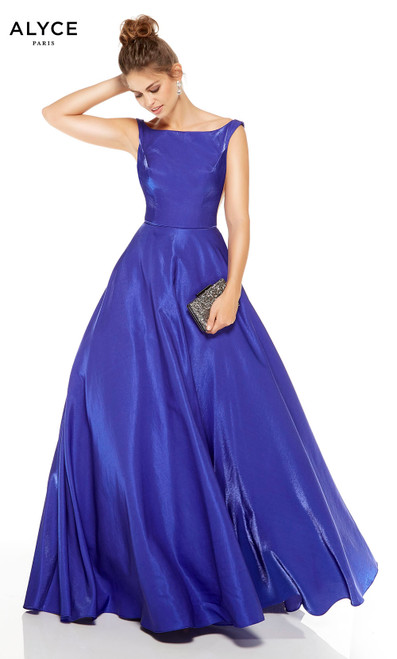 Cobalt Blue prom dress with a bateau neckline