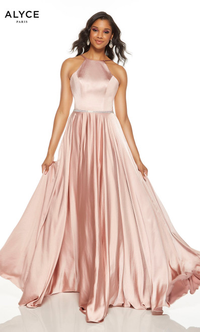 Sultry Blush prom dress with a halter neckline