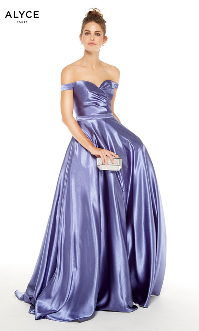 Lavender Violet off the shoulder ball gown
