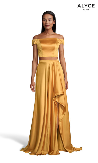 Marigold off the shoulder two piece prom dress with a front slit