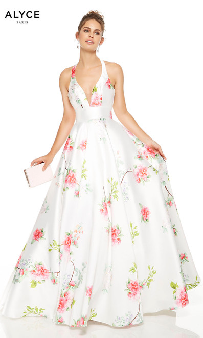 Diamond White formal dress with floral print and a plunging neckline