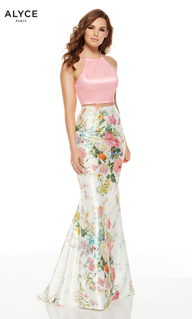 Wildflower-Pink two piece mermaid prom dress with a crop top and a floral skirt