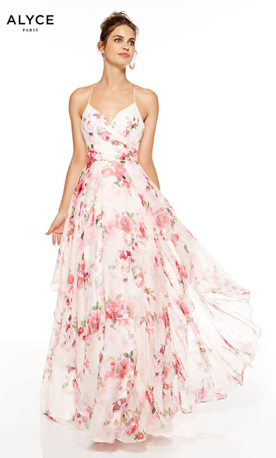 Blush-Rose flowy chiffon prom dress with floral print and a sweetheart neckline